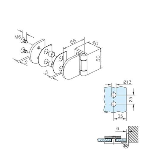 Glast/ür-Scharnier f/ür Glas-Wand-Montage f/ür Glasst/ärke 6-10 mm