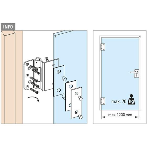Häufig Glastür-Scharnier für Glas-Holzzarge-Montage für Glasstärke 10 - 12 m VZ55