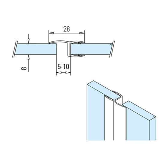 Eckanschlag 90° L 2500 mm für Glasstärke 6-8 mm Lippendichtung für Glastür